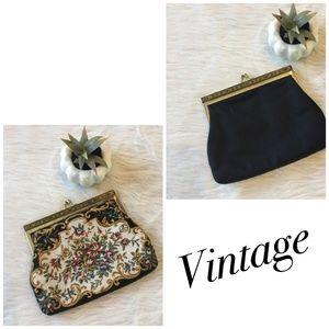 Vintage Clutch Black Embroidered Front Gold Clasp